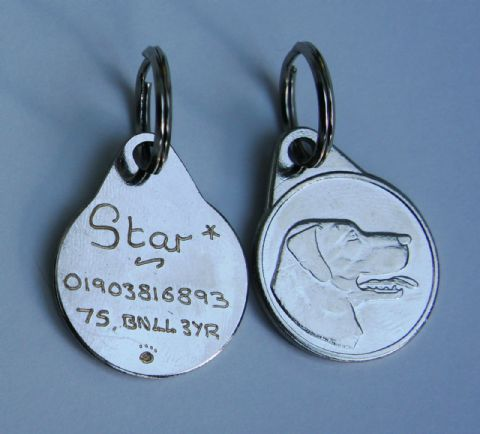 RETRIEVER DOG TAG 25MM  ENGRAVED